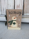 Primitive St. Patrick's Day Snowman with Clover Hand Painted Vintage Book