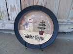 Primitive Snowman with Feather Tree Hand Painted Plate