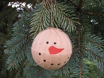 Primitive Snowman Rag Ball Ornament