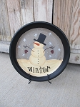 Primitive Hand Painted Snowman with Mittens Winter Plate