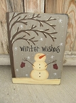 Primitive Hand Painted Snowman with Tree Winter Sign