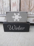 Primitive Hand Painted Winter Snowflake Stacker Blocks Set of 2 with Color Options