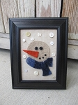 Primitive Antique Vintage Snowman Frame with Vintage Button Snowflakes
