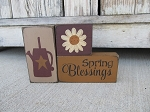Primitive Spring Blessings Watering Can and Daisy Set of 3 Stacking Blocks