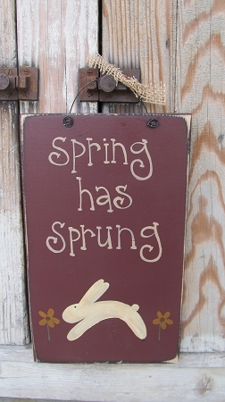 Primitive Spring Has Sprung Leaping Bunny And Daisy Hand