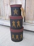 Primitive Star Hand Painted Set of 3 Oval Stack Boxes