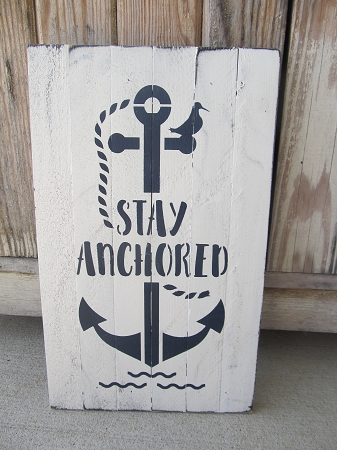 Nautical Beach Rustic Stay Ancd Anchor Hand Stenciled Wooden Pallet Sign