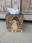 Primitive Snowman with Stocking Hat Winter Hand Painted Tissue Box Cover
