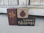 Primitive Summer Blessings Flower and Ladybug Set of 3 Stacking Blocks