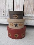Primitive Sunflower Hand Painted Set of 3 Small Oval Stacking Boxes
