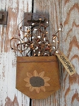 Primitive Sunflower Rusty Tin Hanging Pocket