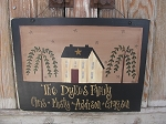 Primitive Saltbox House with Willow Trees Family Hand Painted Personalized Wooden Sign