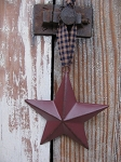 Primitive 4 Inch Burgundy Barn Star with Hanger