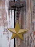Primitive 4 Inch English Mustard Barn Star with Hanger