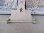 Primitive Colonial Cream Wooden Wall Mounted Tea Towel Holder