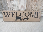 Primitive Colonial Amish Buggy Welcome Hand Painted Wooden Sign