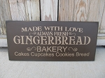 Primitive Made with Love Gingerbread Bakery Hand Painted Wooden Sign