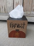 Primitive Fall Autumn Pumpkin Top with Star Hand Painted Tissue Box Cover