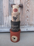 Primitive Halloween Greetings Set of 4 Round Stacking Boxes