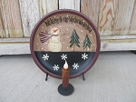 Primitive Winter Snowman and Snowflakes Winter Wonderland Hand Painted Plate with Optional Plate Holder and Candle