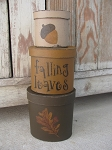 Primitive Oak Leaf and Acorn Hand Painted Oval Set of 3 Stack Boxes