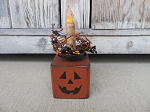 Primitive Halloween Jack o Lantern Wooden Block Timer Light with Fall Colored Pip Berry Wreath
