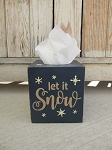 Primitive Winter Let It Snow with Snowflakes Hand Painted Tissue Box with Color Options