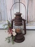 Primitive Antique Dietz Lantern with Winter Greens Buffalo Plaid Snowflake and Timer Tea Light