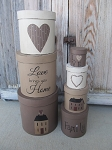 Primitive Love Brings You Home Set of 7 Round Stacking Boxes
