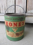 Primitive Antique Honey Tin Can with Handle Wisconsin