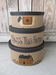 Primitive Bless This Home English Mustard Saltbox and Sheep Set of 3 Oval Stack Boxes