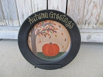 Primitive Pumpkin and Autumn Tree Hand Painted Plate with Color and Saying Options