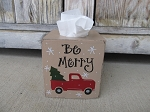 Primitive Red Truck Country Christmas Tree Hand Painted Solid Colored Tissue Box