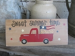 Primitive Antique Hand Painted Red Truck American Flag and Daisies Old Cement Trowel