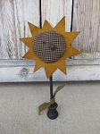 Primitive Sunflower Make Do on Wooden Base
