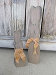 Primitive Country Wood Skinny Bunny Rabbit Pair