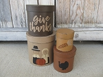 Primitive Thanksgiving Pilgrim Give Thanks Set of 4 Round Stacking Boxes