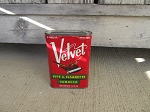 Antique Vintage Velvet Tobacco Tin
