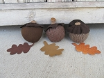 Primitive Fall Autumn Acorns with Leaves Bowl Fillers Set of 6
