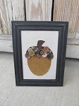 Primitive Autumn Fall Acorn with Vintage Buttons in Black Frame