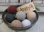 Primitive Country Americana Themed Hand Wrapped Set of 9 Rag Balls