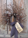 Primitive Americana Grapevine Twiggy Pip Wreath with TIMER Candle