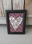 Primitive Americana Flag Patriotic White Heart Vintage Button Frame 8x6