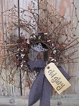 Americana Grapevine Twiggy Pip Berry and Stars Wreath