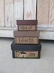 Primitive Americana Square Saltbox and Flag Stacking Boxes