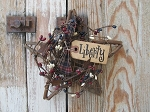 Primitive Grapevine Star with Americana Pip Berry Wreath and Tag