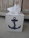 Nautical Beach Rustic Ship Anchor Hand Painted Tissue Box Cover