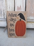 Primitive Autumn Days Pumpkin and Crow Hand Painted Vintage Book