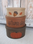 Primitive Autumn Days Pumpkin Leaves and Acorn Fall Set of 3 Hand Painted Oval Stacking Boxes