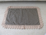 Primitive Farmhouse Fresh Ava Black Checked Rectangle Placemat with Antiqued Lace